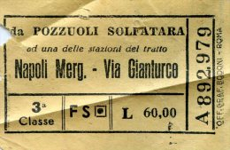 BIGLIETTI DI TRASPORTO TRENI -POZZUOLI SOLFATARA-NAPOLI MERG-VIA GIANTURCO -1955-
