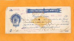 United States Check Cheques Bank Note Old - Cheques & Traverler's Cheques