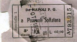 BIGLIETTI DI TRASPORTO TRENI -NAPOLI P.G-POZZUOLI SOLFATARA-1955-