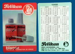 Pocket calendar - Calendrier de poche - S�rie Publicit� - publi� au Portugal - ann�e:1988 - PELIKAN