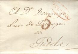 Año 1839 Prefilatelia Carta  De Pamplona A Tudela  Marcas Nº33  Pamplona Y Porteo 5 - ...-1850 Prefilatelia