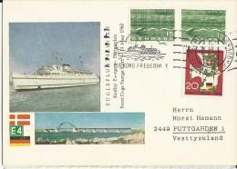 """DANMARK - 1963 - CARTE POSTALE Avec CACHET MARITIME Du PAQUEBOT """"KONG FREDERIK IX"""" De RODBY - Lettere"""