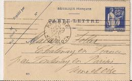 PARIS  96 RUE GLOCK Sur Carte Lettre Paix. - Marcophilie (Lettres)