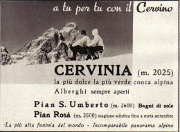 CERVINIA   1939 PUBBLICITA´ RITAGLIATA DA GIORNALE - Immagine Tagliata