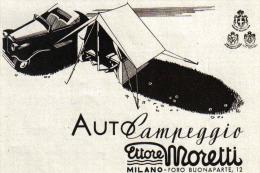 AUTOCAMPEGGIO ETTORE MORETTI    1939 PUBBLICITA´ RITAGLIATA DA GIORNALE - Immagine Tagliata