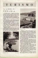 PASSIGNANO: IL LIDO DI PERUGIA  1939 ARTICOLO  RITAGLIATO DA GIORNALE - Immagine Tagliata
