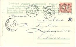 1906 Columbia Wapenstempel Op Ansicht Naar Amsterdam - Covers & Documents