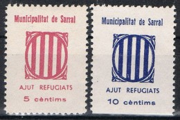 Dos Viñetas Guerra Civil SARRAL (Tarragona) 5 Y 10 Cts, Municipalidad Ajut Refugiats **/* - Viñetas De La Guerra Civil