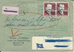BRD / DANMARK - 1957 - ENVELOPPE De ODENSE Pour Le PAQUEBOT SS BALTICO - RETOUR à L'ENV. - ETIQUETTE De La Cie MARITIME - Covers