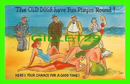 HUMOUR - COMICS - THE OLD DOGS HAVE FUN PLAYIN ROUND ! HERE'S YOUR CHANCE - PUB. BY ASHEVILLE POST CARDS CO - - Humour