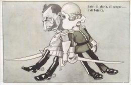 CARICATURE GUERRE 1914  EBBRI DI GLORIA DI SANGUE E DI BATOSTE GUILLAUME CARTE ITALIE  ANTI ALLEMANDE  KRIEG PROPAGANDA - Guerre 1914-18