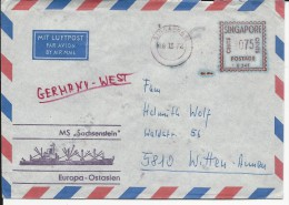 """SINGAPORE - 1972 - ENVELOPPE POSTEE à BORD Du NAVIRE """"SACHSENSTEIN"""" - LIGNE EUROPA - ASIE ORIENTALE - Singapour (1959-...)"""