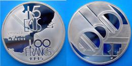 FRANCE 100 F 1994 ARGENTO PROOF SILVER MANCHE TUNNEL SOUS LA PESO 22,2g TITOLO 0,900 CONSERVAZIONE FONDO SPECCHIO UNC. - France