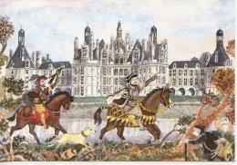 Chambord Le Chateau - Chasse à L´épervier - Aquarelle De P. Legendre Kvater (1987) N°4 éd Hesse - Chambord