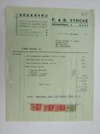 Facture Invoice Gent Gand Drukkerij Imprimerie Vyncke Savaenstraat 1937 - Printing & Stationeries