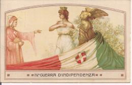 IV GUERRA D'INDIPENDENZA, CARTOLINA NAZIONALE, DANTE ALIGHIERI CATANIA, VIAGGIATA  1917, CATANIA - 1914-18