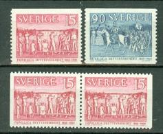 Sverige 1960  Yv. 450/451**, 450b**, 452/453**, 452b**   MNH (2 Scans) - Suède