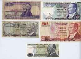 5 Banconote Turkey - 5,10,1000,10000,2000,lira Turca - Turquie