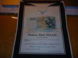 LDM-2 Lettre de mort  Jeanne BEGHAIN MOULIN Mignault 1893 1958 COGNEAU DEBACKER PETIT ARGOT THUIN