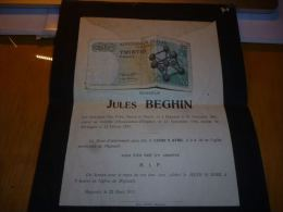 LDM-2 Lettre de mort  Jules BEGHIN Mignault 1891  enlev� au controle d'Ecaussines d'Enghien en 1917 dcd en Allemagne
