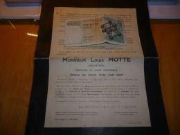 LDM-2 Lettre de mort Louis MOTTE VAN HAM industriel Tourcoing 1924 WIBAUX
