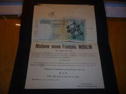 LDM-2 Lettre de mort Maria FOUCART MOULIN Ladeuze 1855 Ecaussinnes Carri�res 1932 BEGHIN DELPORTE VIVIER