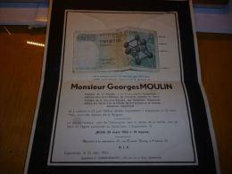 LDM-2 Lettre de mort Georges MOULIN Ladeuze 1888 Ecaussinnes 1962 FELTEN PETIT COGNEAU