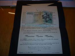 LDM-2 Lettre de mort Nestor MOULIN Ladeuze 1891 Mignault 1954 ARGOT PAINDAVOINE FELTER COGNEAU