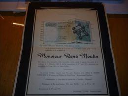 LDM-2 Lettre de mort Ren� MOULIN Ladeuze 1889  1956 COGNEAU BEGHAIN LICOP