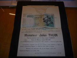 LDM-2 Lettre de mort Jules THUIN GILMONT MOULIN ROLAND Marche lez Ecaussinnes 1889 La Hestre 1958