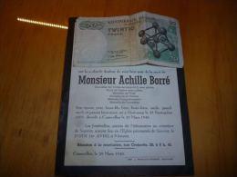 LDM-2 Faire part deces Achille BORRE DEWULF Oostkamp 1895 Courcelles 1948 DECLOODT