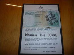 LDM-2 Faire part deces Jos� BORRE ILBERT ALLAERT Souvret 1936 Montignies sur Sambre 1961
