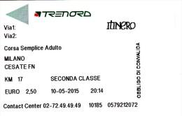Italy ,  Milano - Cesate  , Railway  ticket  ,   2015