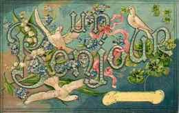 Un Bonjour; Colombes Trèfles Myosotis - Gaufrée Embossed (publicité A La Belle Jardinière) - Fantasia