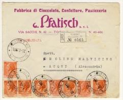 Lettera Raccomandata Con 8 Valori Da Lire 10 Della Siracusana - Affrancatura D´effetto - 6. 1946-.. Repubblica