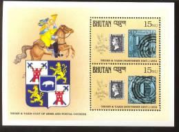 MNH BHUTAN # 911 : SOUVENIR SHEET STAMPS OLD STAMPS ; PENNY BLACK ; POSTAL HISTORY; HORSE - Bhutan