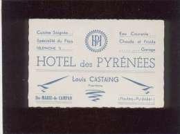 65 Ste Marie De Campan Carte De Visite Note D´hôtel Des Pyrénées Louis Castaing Tél. 5 - Cartes De Visite