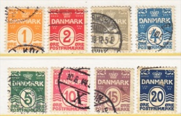 DENMARK   57-64  (o)   Wmk 113 CROWN    05-17 Issue - Used Stamps