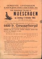 Kleine Affiche Programma Lovendegem - Colombophilie Vlucht Moeskroen - Lokaal Be Brouwer & De Backer 1952 - Affiches