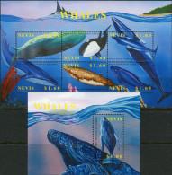 Nevis 2002. Michel #1782/87+Bl.#212 MNH/Luxe. Whales. (B46) - Antilles