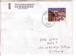 GOOD SLOVENIA Postal Cover To ESTONIA 2014 - Good Stamped: Art - Slovenia
