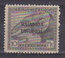 Ruanda-Urundi 1924 10Fr ongebruikt, zonder gom (without gum) (21950)