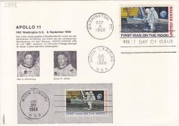 "Sep 9 1969  -  FDC (Schmuckkuvert)  ""APOLLO 11""   -  Siehe Scan  (us 2898) - Schmuck-FDC"