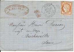 SEINE - 1874 - 40c SIEGE Sur LETTRE De PARIS Pour BISCHWILLER (ALSACE ANNEXEE) - Marcophilie (Lettres)