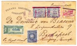 Panama R-Brief 11.11.1904 Colon (violet.) Nach Budapest Ungarn Via London Transit Und AK Stempeln - Panama