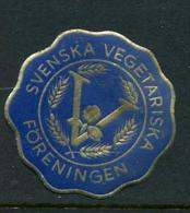 "Svenska Vegetariska Foreningen Foil Poster Stamp Vignette Label Hinged 1 1/2"" Diameter - Cinderellas"