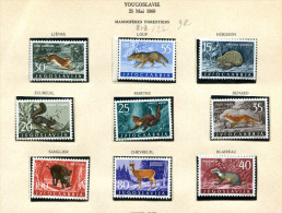 Yougoslavie ** N° 818 à 826 - Animaux De La Forêt - Lièvre, Loup, Hérisson, écureuil, Martre, Renard, Sanglier, Chevreui - Unused Stamps