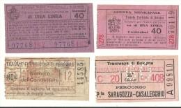 LOTTO DI N. 4 BIGLIETTI TRAMVIE - BOLOGNA-FERRARA N. 97768-70119-99810-14585