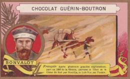 Chromo 1900 Publicité Chocolat Guérin Boutron : Bonvalot :exploration Sibérie,Tibet,Chine,Tonkin - Guerin Boutron