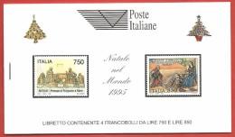 ITALIA REPUBBLICA LIBRETTI MNH - 1995 - Natale (4 Esemplari Da 750 L. E 4 Da 850 L.)  - UNICEF BIANCO - U. LR8 - 6. 1946-.. República